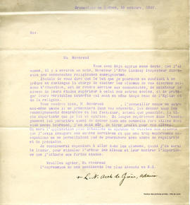 Lettre d'inspection de Louis-Nazaire Bégin