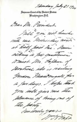 Lettre de William Howard Taft à Adélard Turgeon du 21 juillet 1924