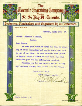 Lettre The Toronto Engraving Company Limited 10 avril 1907
