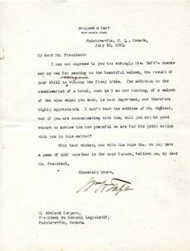 Lettre de William Howard Taft à Adélard Turgeon du 20 juillet 1921